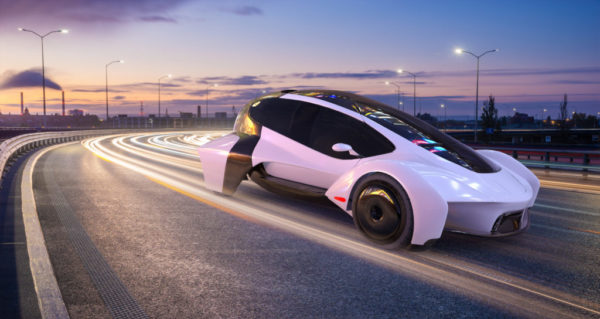The vision of a modern, autonomous cars moving at night in the city